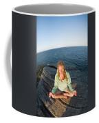 Yoga On Rocky Outcrop Above Ocean Coffee Mug