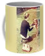 Young Woman In 20s Playing Fetch With Her Dog Coffee Mug