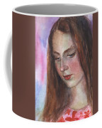 Young Woman Watercolor Portrait Painting Coffee Mug by Svetlana Novikova