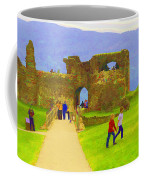 Tourists And The Path At Ruins Of The Urquhart Castle Coffee Mug
