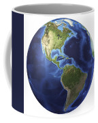3d Rendering Of Planet Earth, Centered Coffee Mug