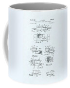 Guitar Pickup Patent Drawing On A Blue Background Coffee Mug