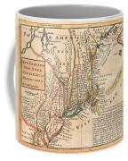 1729 Moll Map Of New York New England And Pennsylvania  Coffee Mug