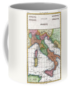 1780 Raynal And Bonne Map Of Italy Coffee Mug