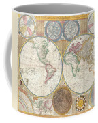 1794 Samuel Dunn Wall Map Of The World In Hemispheres Coffee Mug by Paul Fearn