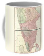 1800 Faden Rennell Wall Map Of India Coffee Mug