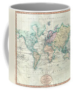 1801 Cary Map Of The World On Mercator Projection Coffee Mug