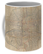 1802 Chez Jean Map Of Paris In 12 Municipalities France Coffee Mug