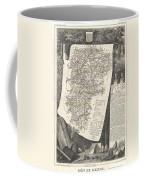1852 Levasseur Map Of The Department L Aisne France Coffee Mug