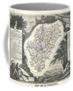 1852 Levasseur Map Of The Department La Charente France Cognac And Pineau Wine Region Coffee Mug