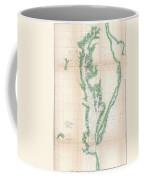 1852 Us. Coast Survey Chart Or Map Of The Chesapeake Bay And Delaware Bay Coffee Mug