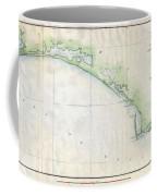 1853 Us Coast Survey Map Of The Western Florida Panhandle Coffee Mug