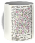 1855 Colton Map Of Alabama Coffee Mug