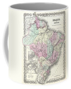 1855 Colton Map Of Brazil And Guyana Coffee Mug