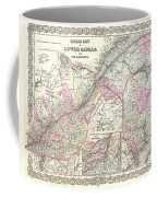 1855 Colton Map Of Canada East Or Quebec Coffee Mug