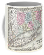 1855 Colton Map Of Connecticut And Long Island Coffee Mug