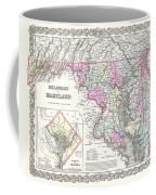 1855 Colton Map Of Delaware Maryland And Washington Dc Coffee Mug