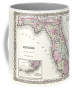 1855 Colton Map Of Florida Coffee Mug