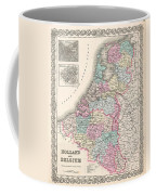 1855 Colton Map Of Holland And Belgium Coffee Mug