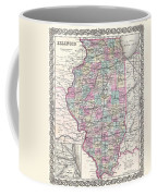 1855 Colton Map Of Illinois Coffee Mug
