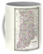1855 Colton Map Of Indiana Coffee Mug