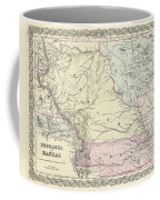 1855 Colton Map Of Kansas And Nebraska  Coffee Mug