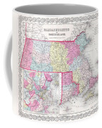 1855 Colton Map Of Massachusetts And Rhode Island Coffee Mug