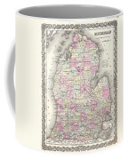1855 Colton Map Of Michigan Coffee Mug
