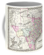 1855 Colton Map Of Texas Coffee Mug