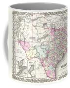 1855 Colton Map Of Texas Coffee Mug