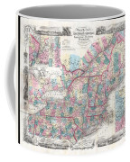 1856 Colton Pocket Map Of New England And New York Coffee Mug