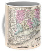 1857 Colton Map Of Connecticut And Long Island Coffee Mug