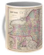 1857 Colton Map Of New York Coffee Mug