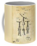 1883 Wine Corckscrew Patent Art - Vintage Black Coffee Mug