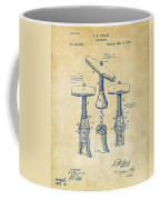 1883 Wine Corckscrew Patent Artwork - Vintage Coffee Mug