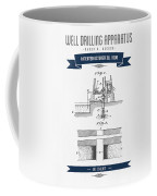 1906 Well Drilling Apparatus Patent Drawing - Retro Navy Blue Coffee Mug