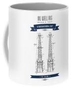 1927 Oil Well Rig Patent Drawing - Retro Navy Blue Coffee Mug