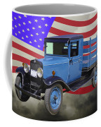 1929 Blue Chevy Truck And American Flag Coffee Mug