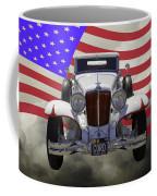 1929 Cord 6-29 Cabriolet Antique Car With American Flag Coffee Mug