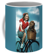 1940s 1950s Smiling Teen Girl Riding Coffee Mug