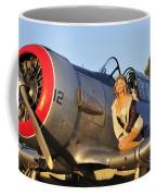 1940s Style Aviator Pin-up Girl Posing Coffee Mug