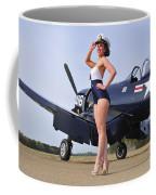 1940s Style Navy Pin-up Girl Posing Coffee Mug
