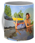 1940s Style Pin-up Girl With Parasol Coffee Mug by Christian Kieffer