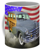 1948 Pontiac Silver Streak Woody And American Flag Coffee Mug