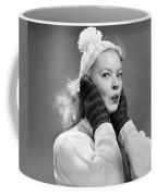 1950s Young Woman Pursing Lips Hands Coffee Mug