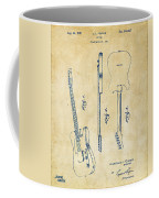1951 Fender Electric Guitar Patent Artwork - Vintage Coffee Mug