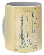 1953 Fender Bass Guitar Patent Artwork - Vintage Coffee Mug