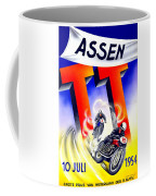 1954 - Assen Tt Motorcycle Poster - Color Coffee Mug