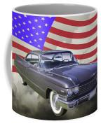 1960 Cadillac Luxury Car And American Flag Coffee Mug