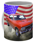 1966 Chevy Chevelle Ss 396 And United States Flag Coffee Mug